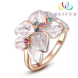 Brilliant AAAAA CZ & Rose Gold Flower Ring NEW!